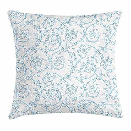 Ambesonne Floral Throw Pillow Cushion Cover, Flower Orchids Bohemian Style Vintage Petals Vines Pattern French Country Style, Decorative Square Accent Pillow Case, 20 X 20 Inches, Blue White