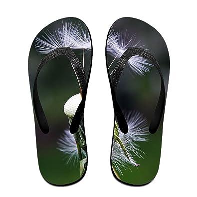 6e51091e390d80 Jinqiaoguoji Design Summer Roadside Plant Wildflowers Womens Sandals Beach  Sandals Pool Party Slippers Flip Flops Black