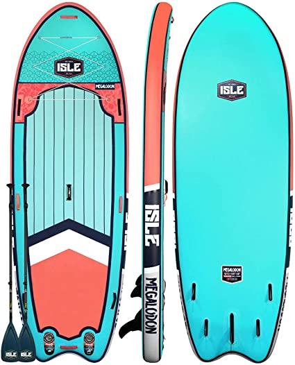 "ISLE Megalodon | 12 & 15 Inflatable Stand Up Paddle Board | 8"" Thick iSUP and Bundle Accessory Pack 