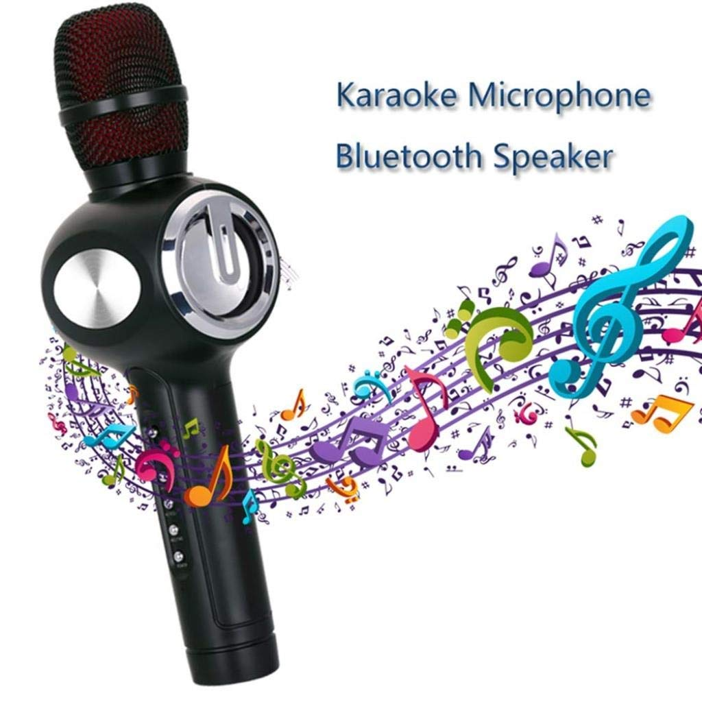Wireless Bluetooth Karaoke Microphone, Condenser Mic Bluetooth Speaker Mike Compatible with Android and iOS for Singging, Karaoke, Recording (Color : Gold) by Rsiosle (Image #2)