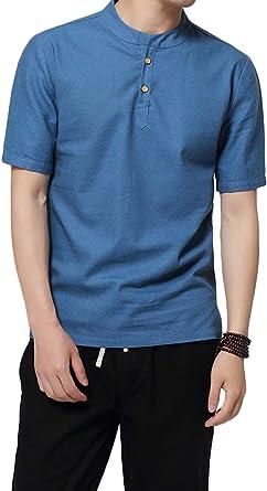 Camiseta De Verano para Casual Modernas Cuello Alto Hombre De De Manga Corta Camiseta Tops De Colores Sólidos De Moda para Mujer Camisas De Algodón Y Lino Sueltas: Amazon.es: Ropa y accesorios