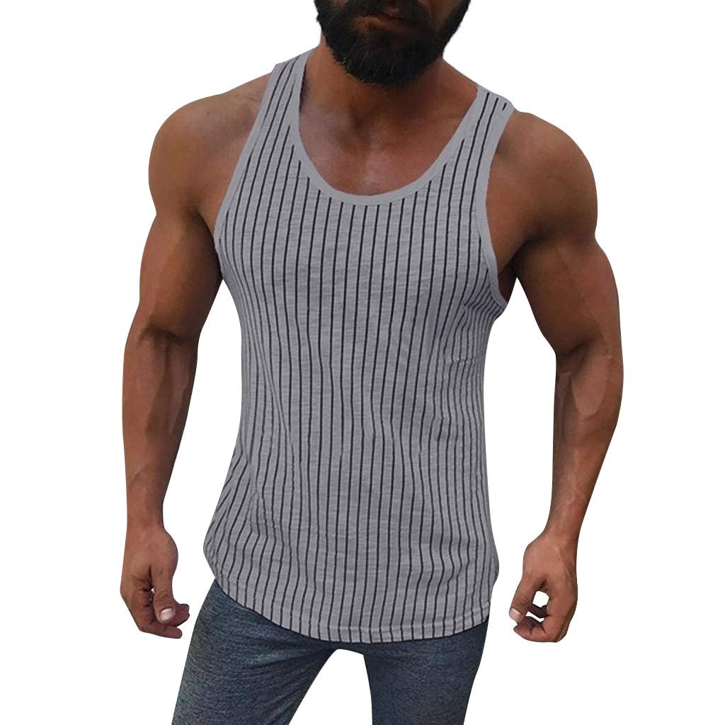 NUWFOR Men Fitness Muscle Striped Print Sleeveless Bodybuilding Tight-Drying Vest Tops(Gray,M US Bust:38.5'')