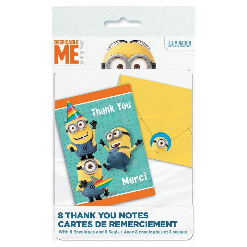 Despicable Me Thank You Notes, 8ct Unique 64711