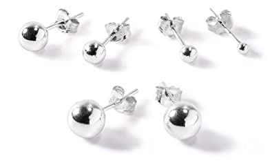925 Sterling Silver Round Ball Studs Set of 3 Earrings 4, 5, 6 mm