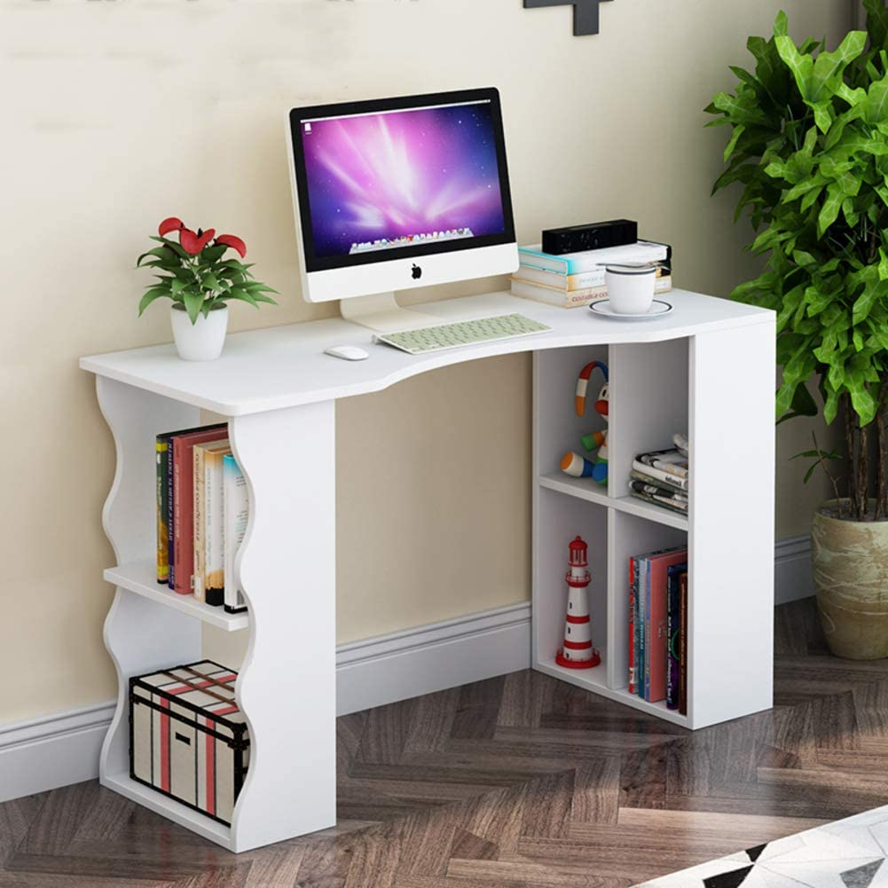 YQ WHJB Computer Desk with Storage Shelves,Writing Computer Table,Compact Pc Laptop Workstation Multifunctinal Assembly Studying Table-f 100x30x75cm(39x12x30inch)