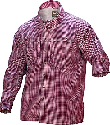 Drake Wingshooter Game Day Plaid Long Sleeve Shirt (Red) (Men's 3XL)