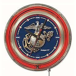 NCAA United States Marine Corps Double Neon Ring 15-Inch Diameter Logo Clock