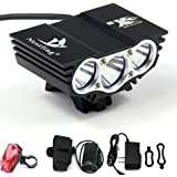 X800 CREE XM-L T6 LED Zoom Flashlight Torch Bicycle Bike Light Lamp   18650 Set