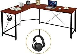 """AuAg Modern L-Shaped Home Office Desk 66 inch Sturdy Computer PC Laptop Table Corner Desk Workstation Larger Gaming Desk Easy to Assemble 66"""" x 47.5"""" x 29"""" (Brown)"""