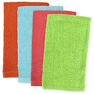 DII 100% Cotton, Machine Washable, Ultra Absorbent, Everyday Kitchen Basic, Utility, Bar Mop Dishtowel 16 x 19  Set of 4- Brights