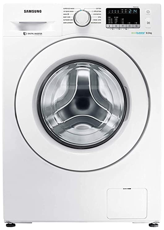 Samsung 8 kg Inverter Fully Automatic Front Loading Washing Machine  WW80J4243MW/TL, White, Inbuilt Heater, Eco Bubble  Washing Machines   Dryers
