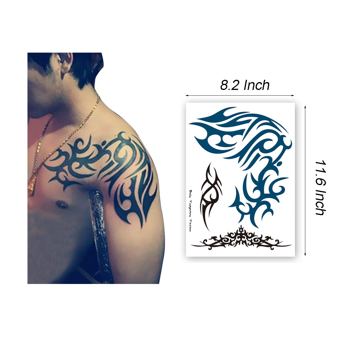 LEOARS TOTEM-L3S3-6 Leoars - Tatuaje temporal para hombre, diseño ...