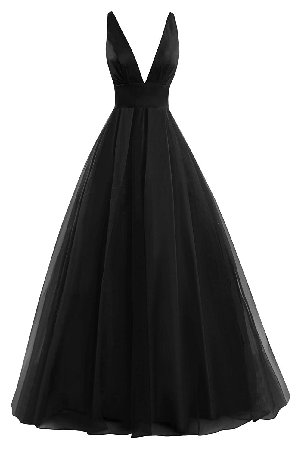 d6459539cab Amazon.com  Bess Bridal Women s Tulle Deep V Neck Prom Dress Formal Evening  Gowns  Clothing