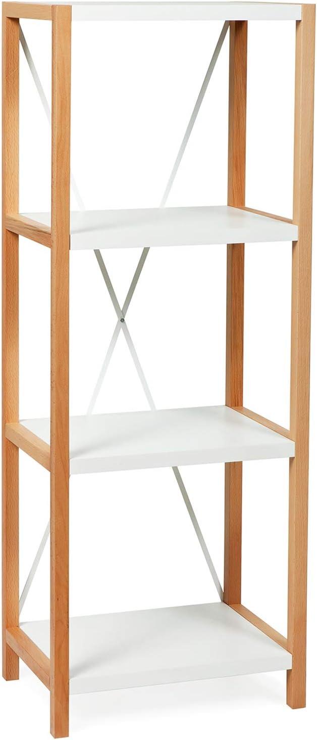Vivense Yoda - Estantería de 4 niveles (45 x 120 cm, estructura de madera maciza y soporte de metal, color blanco y roble, almacenamiento para baño y cocina: Amazon.es: Hogar