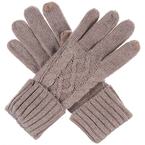 BYOS Women Winter Wool Blend Leafy Texting Knit Gloves W/ Two Fingertips Conductive Tech for All Touch-Screen Devices Smartphone & Tablet