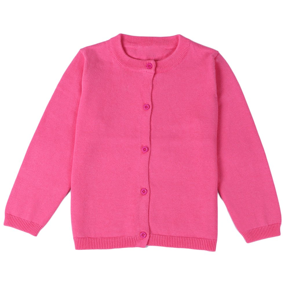 Comfybaby Little Girls Basic Crew Neck Solid Fine Knit Cardigan Sweaters (Age(3T), Rose)