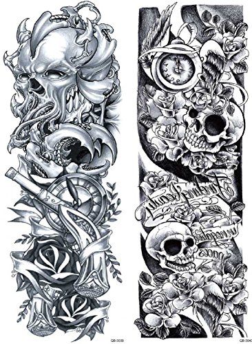 Nutrition Bizz Extra Large Temporary Tattoos Full Half Arm Tattoo Sleeves 20 Sheets for Men Women Teen Fake Tattoo Biker Tattoo Waterproof Stickers for Arms Shoulders Chest & Back by NutritionBizz (Image #7)