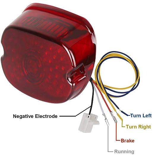 MOVOTOR Red Low Profile Harley Davidson Tail Light Integrated ke Turn on