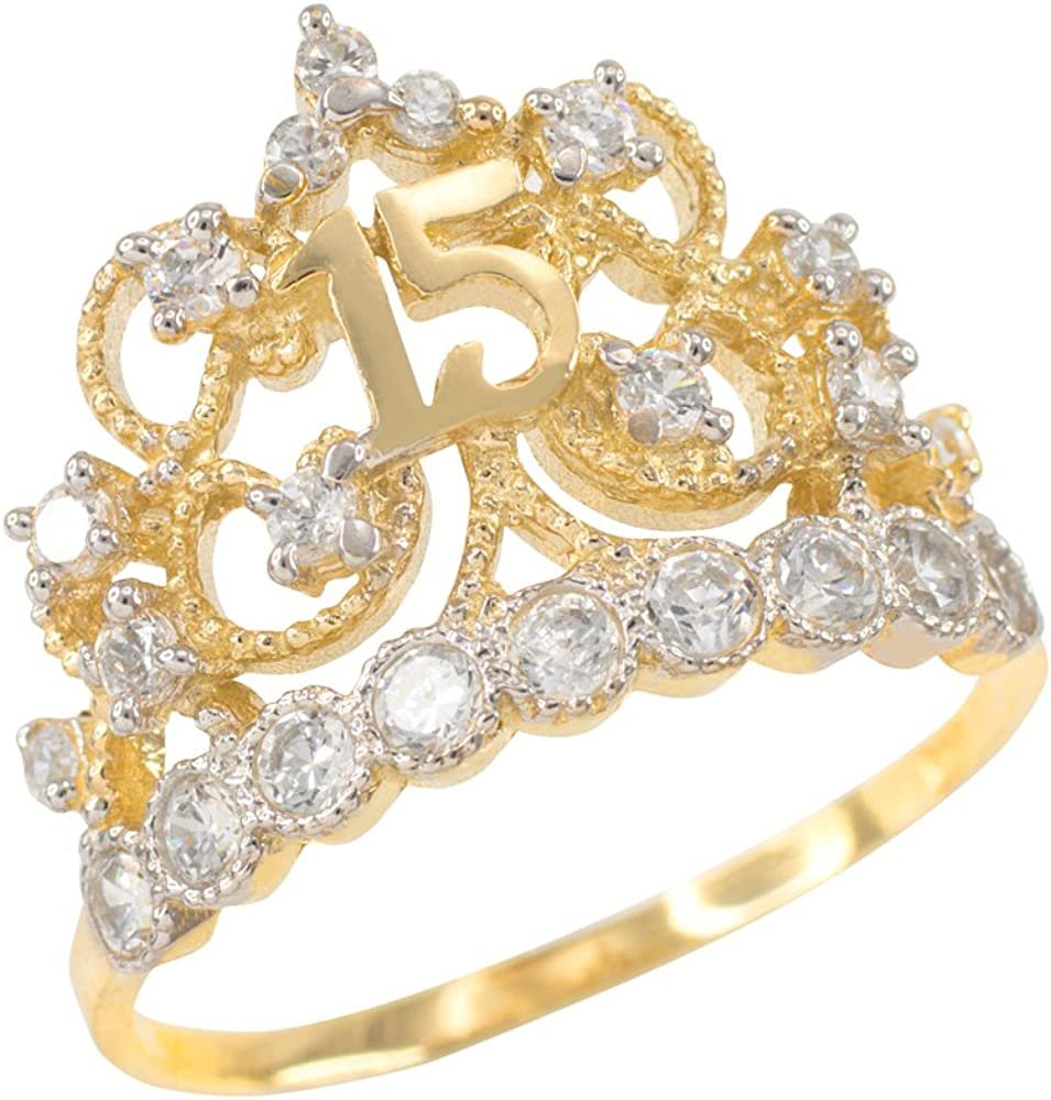 14K Solid Yellow Gold CZ Crown Sweet 15 Ring Quinceanera Anos Birthday Band Girl
