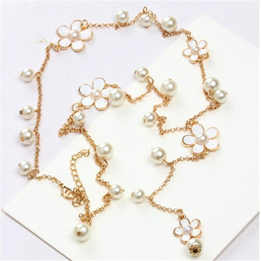 Clearance Necklace Women's Elegant Pearl Chain Long Pendant Necklace Fashion Jewelry Laimeng_World (Gold)