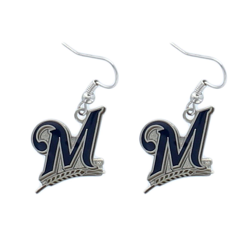 MLB Milwaukee Brewers Logo Dangler Earrings