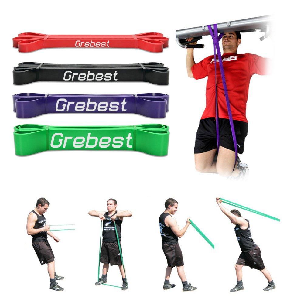 Bandas elásticas para estirar el cuerpo, levantamiento de pesas, entrenamiento de fitness, (set of four bands)Green+Red+Purple+Black: Amazon.es: Deportes y ...