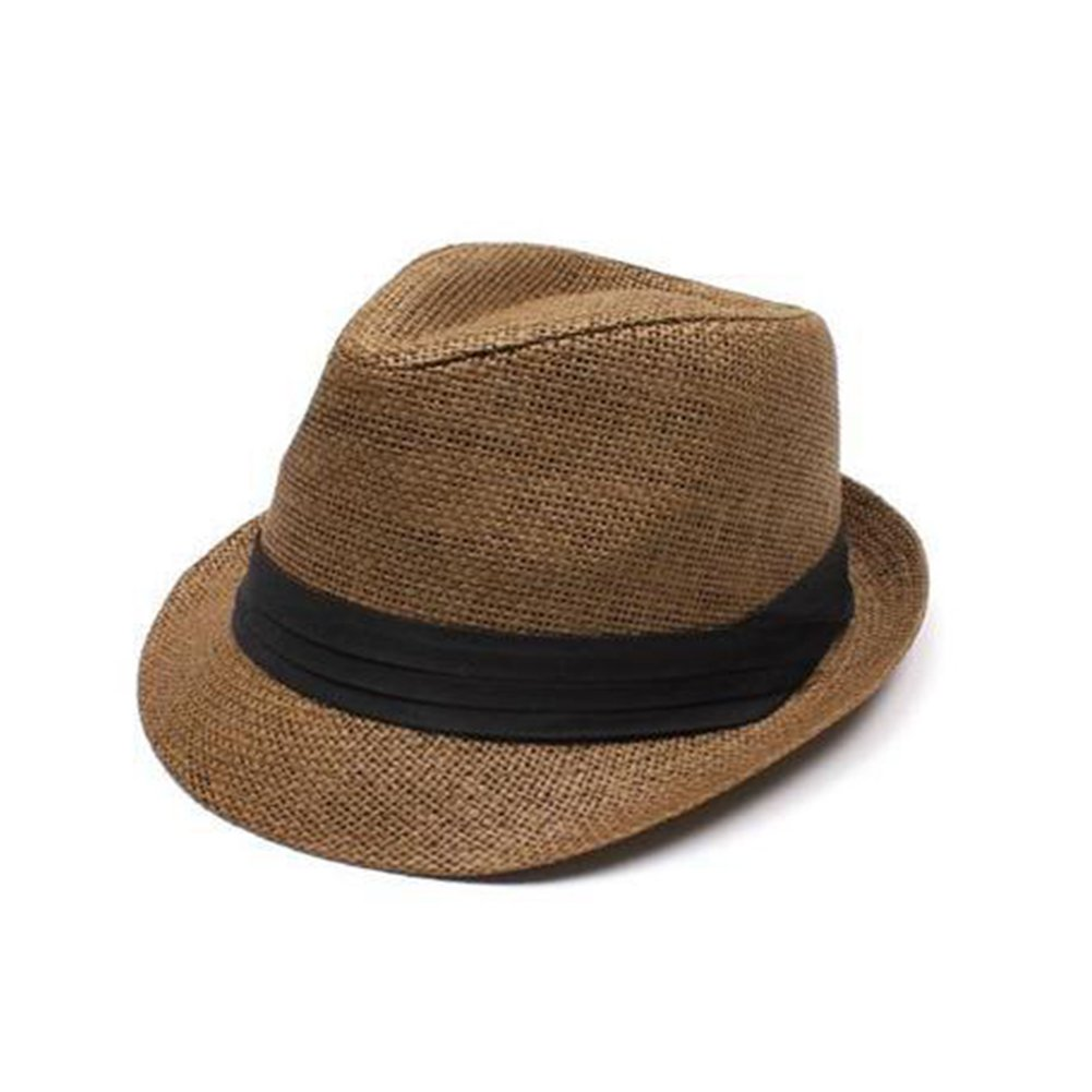 Opromo Men & Women's Summer Short Brim Straw Trilby Fedora Hat with Solid Band-Coffee-24PCS