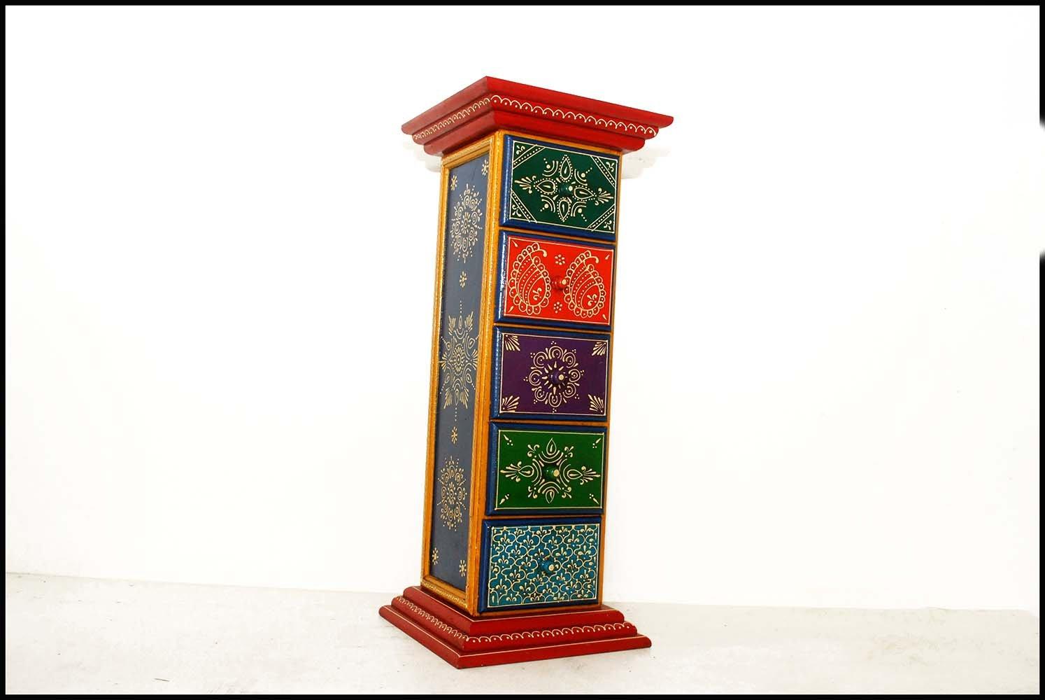 Wooden Side Corner Drawer 5 Handicraft Cabinet (Wooden 5 Drawer Pillar)