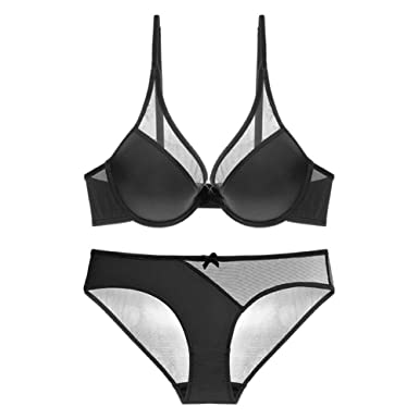 42a98c4cd6 Image Unavailable. Image not available for. Colour  NBYD Women s Sexy Mesh Bras  Set Deep-V Lingerie Bra and Panties
