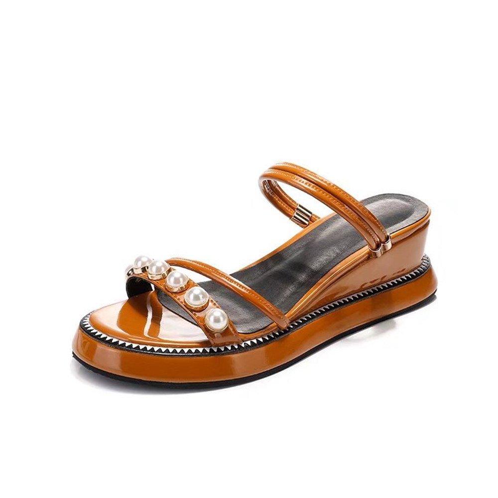 Shymamamiya Sommer Kuh Leder Schuhe Zwei Tragen Sandalen Mode Perle Leder Damenschuhe (Farbe : Gelb, Grouml;szlig;e : 37 1/3 EU)  37 1/3 EU|Gelb