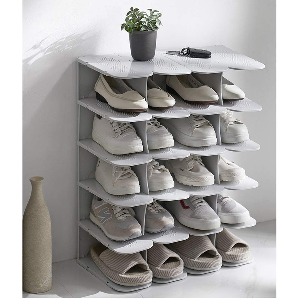 Multi-Layer Simple and Space-Saving Plastic Detachable Combination Shoe Storage Rack Vertical Shoe Rack Living Room Dormitory School Suitable for Bedroom