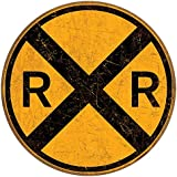 """Vintage Style Railroad Crossing 12"""" Round Metal Sign"""