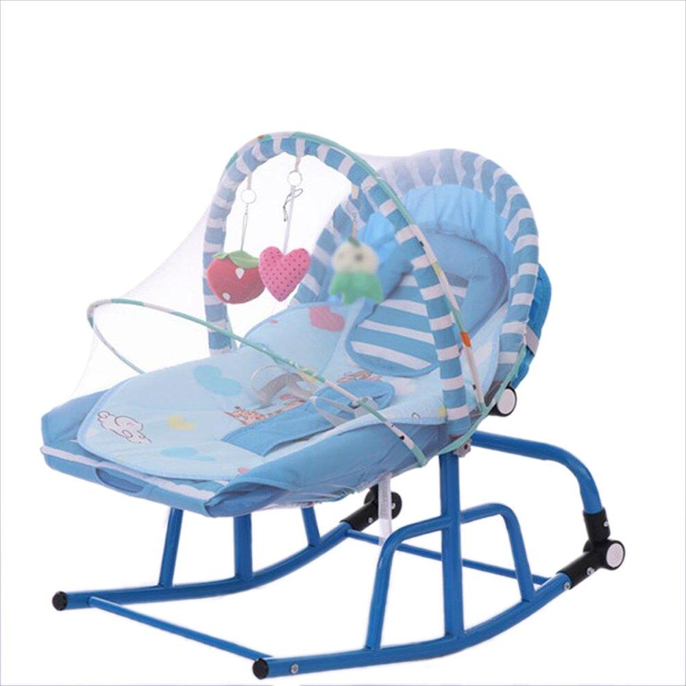 ALUP- ベビースイングロッキングチェアクレードル新生児シェイクベッド多機能幼児から幼児ロッカーバランスバウンサーとモスキートネット (色 : 青)  青 B07NQH3GRZ