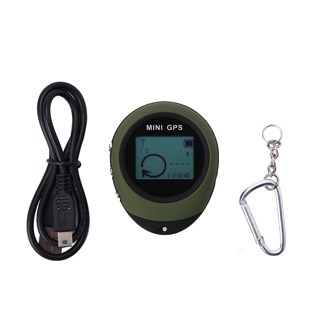 Dilwe Mini GPS Navigation, Handheld Portable GPS Navigation Location Finder Tracker with Kay Chain for Hiking Traveling
