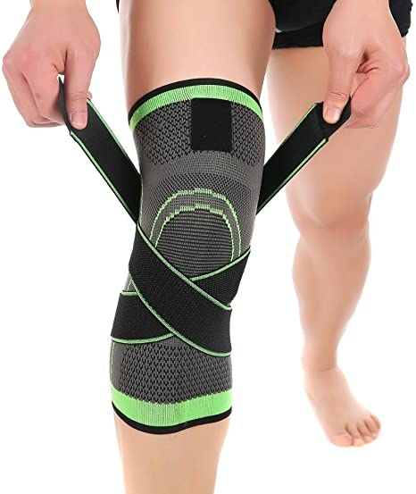 Delaman Knee Pad 3D Weaving Sport Pressurization Knee Brace for Joint Pain and Arthritis Relief Compression Fit Support Foot Care Injury Protection