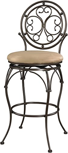 FurnitureMaxx 400 Lbs Capacity Commercial Grade Scroll Circle Back Barstool