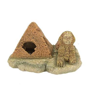 Pyramide Egyptienne Resine Aquarium Ornement Accessoires Resine