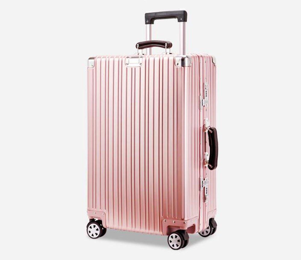 cas-02 スーツケース キャリーケース 全金属 旅行ケース TSAロック搭載 トランク B06XS159PR 24インチ|ピンク ピンク 24インチ