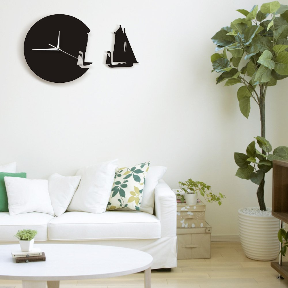 Amazon.com: The Geeky Days Yacht Leaving Clock Sailing Boat Modern Wall Clock Sea Style Beach Home Decor The Sailing Boat Ship Clock Sailors Marines Gift: ...