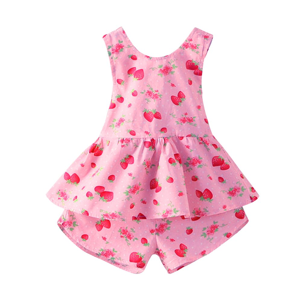 Mud Kingdom Strawberry Girls Clothes Sets Summer Holiday Cute Outfits Backless S-T0087