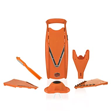 Borner V5 Plus Set straight from the manufacturer. Includes V5 Powerline Slicer,slicer Insert, 3,5mm and 7mm Blade Inserts,food Safety Holder,storage Box and Borner Combi-peeler (orange)