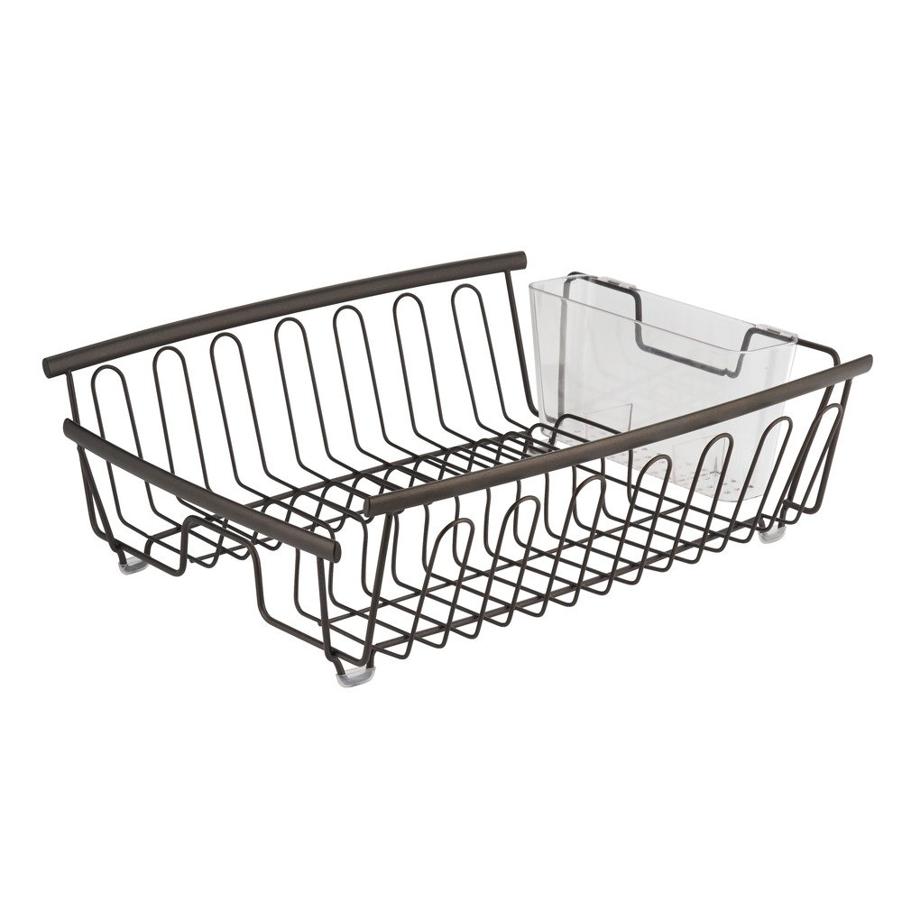 InterDesign Axis Kitchen Dish Drainer Rack for Drying Glasses, Silverware, Bowls, Plates - Bronze/Clear 80281