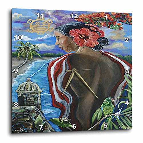 3dRose Melissa A. Torres Art Puerto Rican Art - Image of Woman with Puerto Rican imagery - 15x15 Wall Clock (dpp_261559_3)