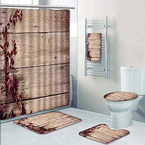 Philiphome 5-piece Bathroom Set- barberry branch on a wooden background Prints decorate the bathroom,1-Shower Curtain,3-Mats,1-Bath towel