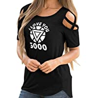 Jack Fashion Iron Man Memorial Shirt,I Love You 3000 T Shirt, Cold Shoulder Casual Loose Strappy Tunic for Father's Day Gift & Birthday Present & Holiday Gift - Available in Multiple Colors & Sizes