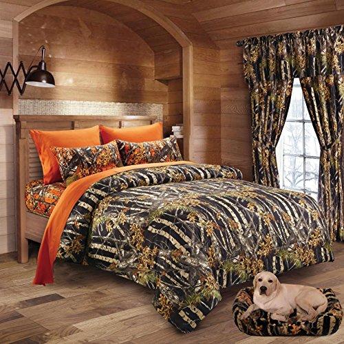 20 Lakes Woodland Hunter Camo Comforter, Sheet, & Pillowcase Set (Full, Black & Orange) (Bedding In A Bag Full Forest)