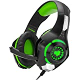 Cosmic Byte GS420 Headphones with Mic, RGB LED Lights and Audio Splitter for PS4, (Black/Green)