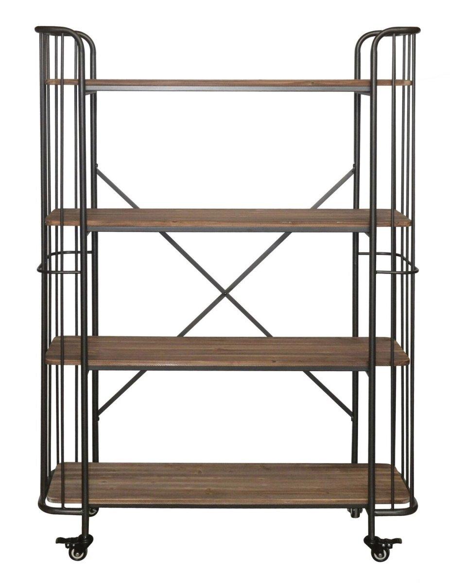 Cheungs 4844 4-Tier Wood Shelf44; Metal Bar Cart