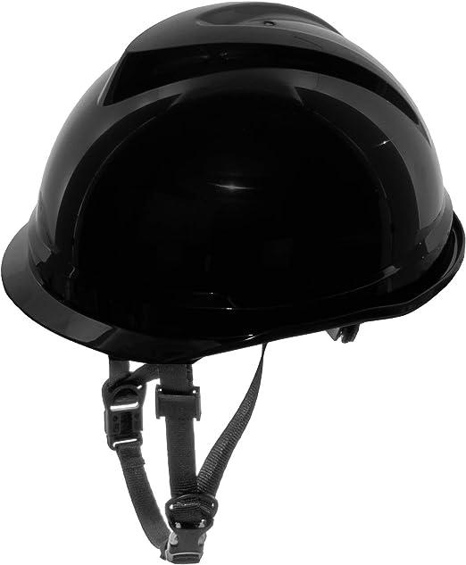 MSA 520 V-Gard Casco de Seguridad con Correa de Barbilla para la protección en la construcción - Negro: Amazon.es: Bricolaje y herramientas