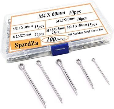 100pcs R Cotter Pin Assortment Hitch Pin Clips Fastener Set